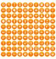 100 auto icons set orange vector image vector image
