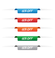 60 percent off paper tag labels vector image