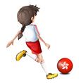 A player using the ball from HongKong vector image vector image