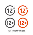 age rating 12 plus movie icon under 12 years sign vector image vector image