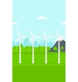 Background of wind turbines in mountains vector image vector image