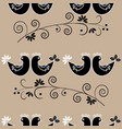 birds and twig seamless pattern vector image