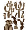 cactus icon set vector image vector image