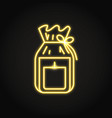 candle in gift pack icon in neon line style vector image