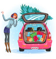 cartoon girl standing near car with tree vector image