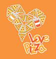 Cartoon pizza as love shape