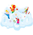 Children in a snow fort vector image vector image