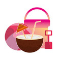 coconut cocktail beach ball bucket and shovel vector image vector image