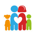 color pictogram with family and heart among them vector image vector image