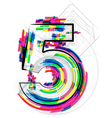 Colorful Number 5 vector image