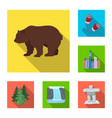 country canada flat icons in set collection for vector image