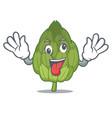 crazy artichoke mascot cartoon style vector image vector image