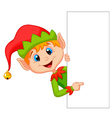 Cute christmas elf cartoon pointing vector image vector image