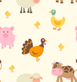 Cute farm animals pattern vector image vector image
