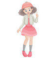 cute girl in pink skirt vector image vector image