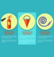 emergency equipment set for fire protection poster vector image vector image