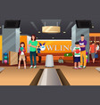 family playing bowling vector image vector image