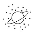 flat style planet uranus in front stars vector image