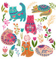 folk set colorful with vector image vector image