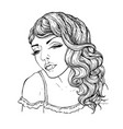girl with streaming wavy hair lineart hand drawn vector image