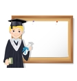 Graduate boy and cork board with paper vector image vector image