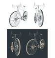 gravel bike drawings vector image vector image