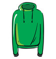 green hoodie on white background vector image