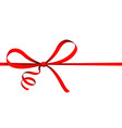 isolated on white red ribbon curl bow gift present vector image