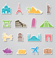 landmarks stickers on grey background vector image vector image