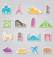 Landmarks stickers on grey background