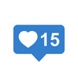 like comment follower icon blue flat with heart vector image