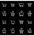 line shopping cart icon set vector image
