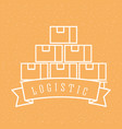 logistic stack cardboard boxes emblem style vector image