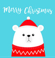 merry christmas polar white bear cub head face vector image