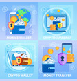 mobile crypto wallet cryptocurrency money transfer vector image vector image