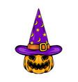 monster pumpkin using purple witcher hat vector image