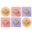 outlined icon of cheese cuts with parallel and vector image vector image