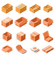 packing box icon set isometric 3d style vector image