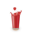 raspberry juice with splash vector image vector image