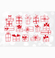 red doodlle sketch gift boxes on white glowing vector image vector image