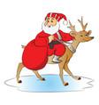 santa claus riding a deer vector image vector image