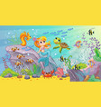 sea world wildlife background with mermaid vector image