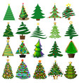 set christmas and new year trees with toys and vector image