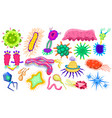 set of bacteria characters cartoon cute germ vector image