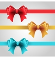 Set of blue Red and gold holiday ribbon with bow vector image vector image