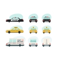 Set of cartoon ambulance police and yellow taxi vector image