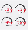 set of four speedometer scale vector image vector image