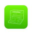 stone barbecue icon green vector image vector image