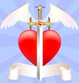 sword and heart vector image