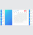 template calendar 2019 week starts on sunday set vector image vector image